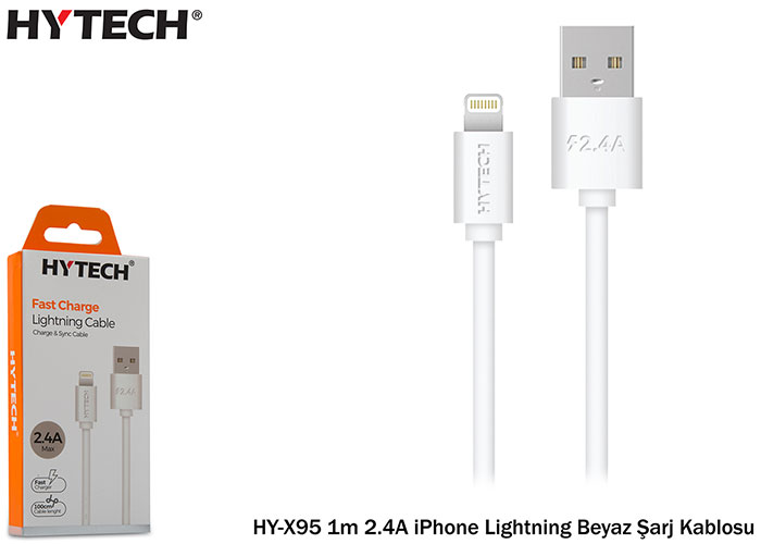 Hytech HY-X94 1m 2.4A iPhone Lightning White Charger Cable