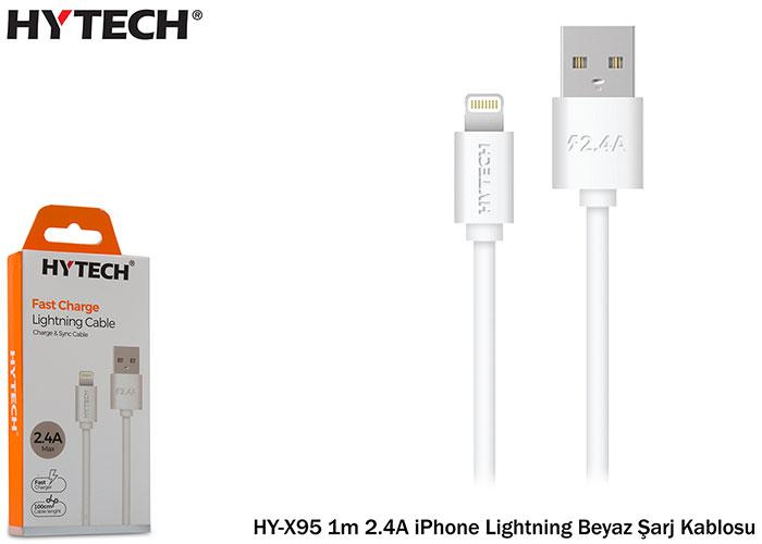 Hytech HY-X95 1m 2.4A iPhone Lightning Beyaz Şarj Kablosu