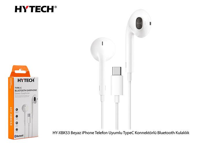 Hytech HY-XBK53 Beyaz iPhone Telefon Uyumlu TypeC Konnektörlü Bluetooth Kulaklık