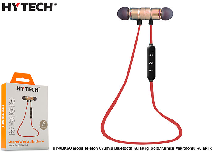 Hytech HY-XBK60 Mobile Phone Compatible Bluetooth In-Ear Gold / Red Headset with Microphone
