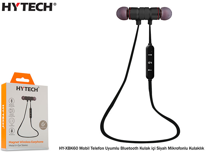Hytech HY-XBK60 Mobile Phone Compatible Bluetooth In-Ear Black Headset with Microphone