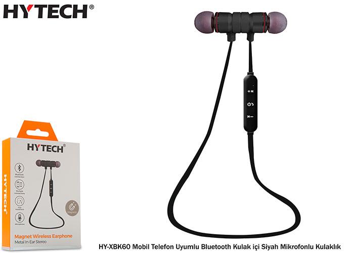 Hytech HY-XBK60 Mobil Telefon Uyumlu Bluetooth Kulak içi Siyah Mikrofonlu Kulaklık