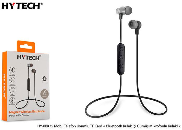 Hytech HY-XBK75 Mobil Telefon Uyumlu TF Card + Bluetooth Kulalk İçi Gümüş Mikrofonlu Kulaklık