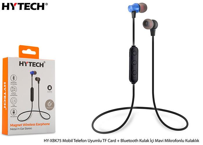 Hytech HY-XBK75 Mobil Telefon Uyumlu TF Card + Bluetooth Kulalk İçi Mavi Mikrofonlu Kulaklık
