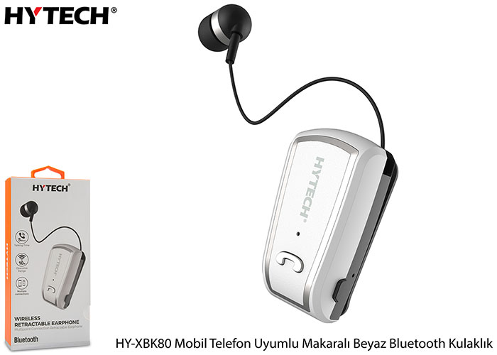 Hytech HY-XBK80 Mobile Phone Compatible Roller White Bluetooth Headset
