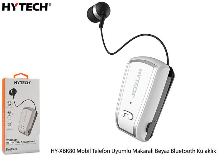 Hytech HY-XBK80 Mobil Telefon Uyumlu Makaralı Beyaz Bluetooth Kulaklık