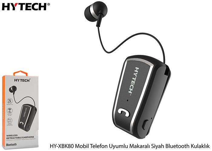 Hytech HY-XBK80 Mobil Telefon Uyumlu Makaralı Siyah Bluetooth Kulaklık
