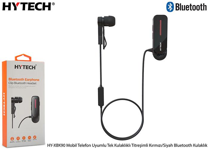 Hytech HY-XBK90 Mobil Telefon Uyumlu Tek Kulaklıklı Titreşimli Kırmızı/Siyah Bluetooth Kulaklık