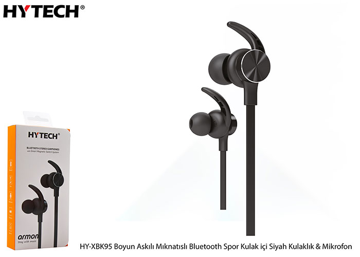 Hytech HY-XBK95 Boyun Askılı Mıknatıslı Bluetooth Spor Kulak içi Siyah Kulaklık Mikrofon