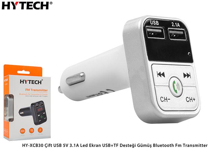 Hytech HY-XCB30 Çift USB 5V 2.1A Led Ekran USB+TF Desteği Gümüş Bluetooth Fm Transmitter