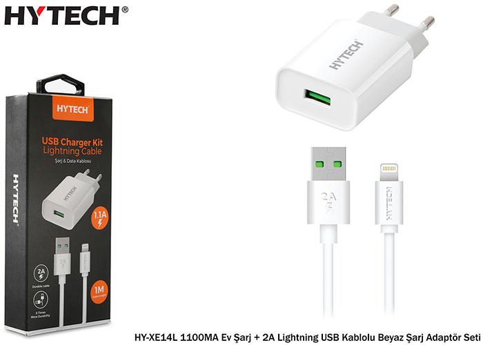 Hytech HY-XE14L 1100MA Ev Şarj + 2A Lightning USB Kablolu Beyaz Şarj Adaptör Seti
