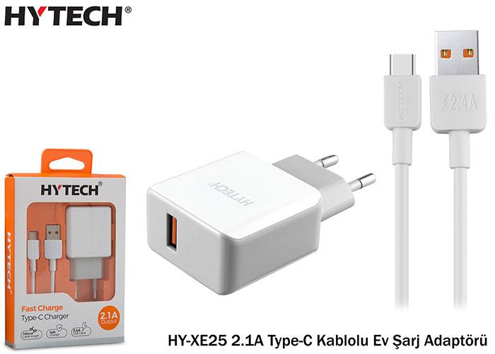 Hytech HY-XE25 2.1A Type-C Kablolu Beyaz/Gri Ev Şarj Adaptörü