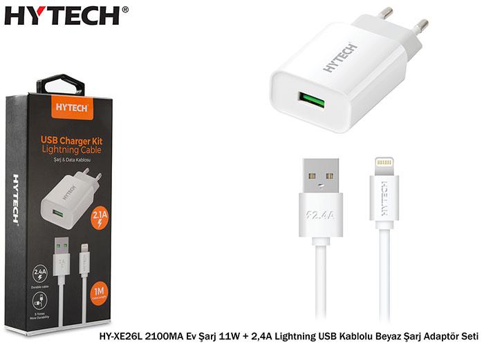 Hytech HY-XE26L 2100MA Ev Şarj 11W + 2,4A Lightning USB Kablolu Beyaz Şarj Adaptör Seti