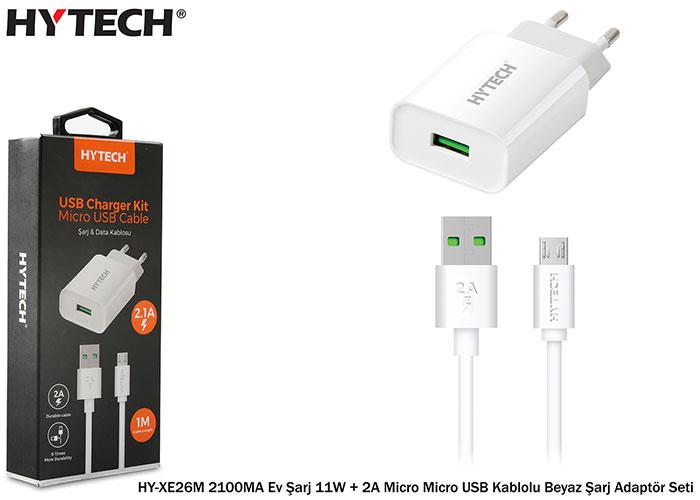 Hytech HY-XE26M 2100MA Ev Şarj 11W + 2A Micro Micro USB Kablolu Beyaz Şarj Adaptör Seti