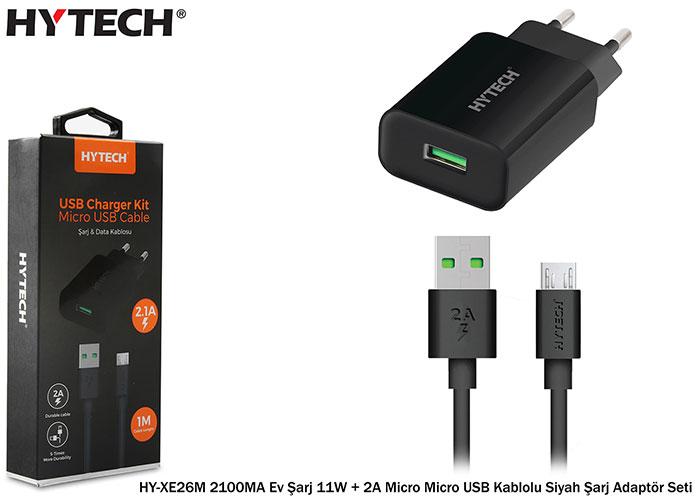 Hytech HY-XE26M 2100MA Ev Şarj 11W + 2A Micro Micro USB Kablolu Siyah Şarj Adaptör Seti