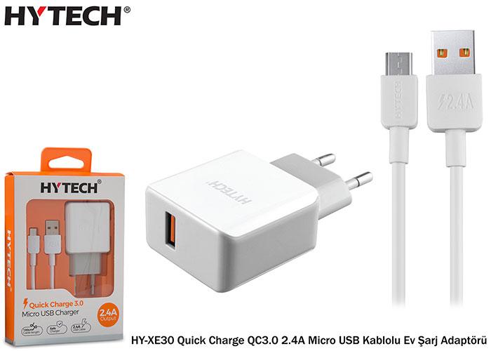 Hytech HY-XE30 Quick Charge QC3.0 2.4A Micro USB Kablolu Beyaz/Gri Ev Şarj Adaptörü