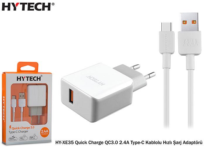 Hytech HY-XE35 Quick Charge QC3.0 2.4A Type-C Kablolu Hızlı Şarj Adaptörü