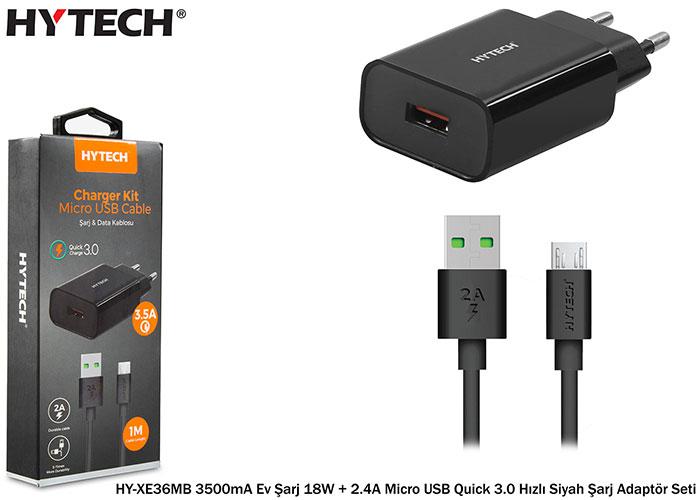 Hytech HY-XE36MB 3500mA Ev Şarj 18W + 2.4A Micro USB Quick 3.0 Hızlı Siyah Şarj Adaptör Seti