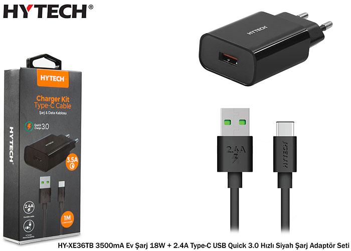 Hytech HY-XE36TB 3500mA Ev Şarj 18W + 2.4A Type-C USB Quick 3.0 Hızlı Siyah Şarj Adaptör Seti
