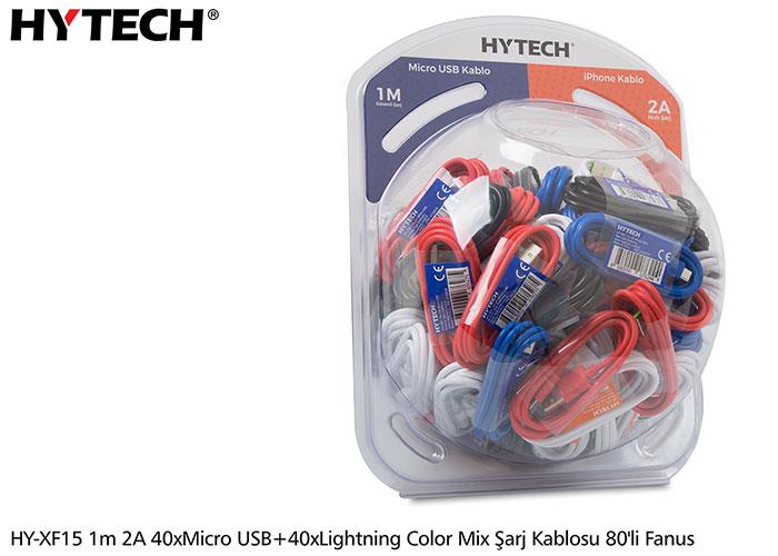 Hytech HY-XF15 1m 2A 40xMicro USB + 40xlightning color mix şarj kablosu 80li Fanus