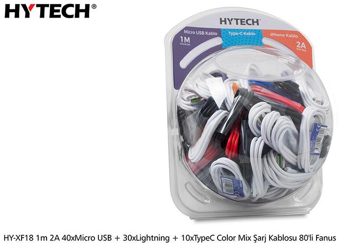Hytech HY-XF18 1m 2A 40xMicro USB + 30xLightning + 10xTypeC color mix şarj kablosu 80li Fanus