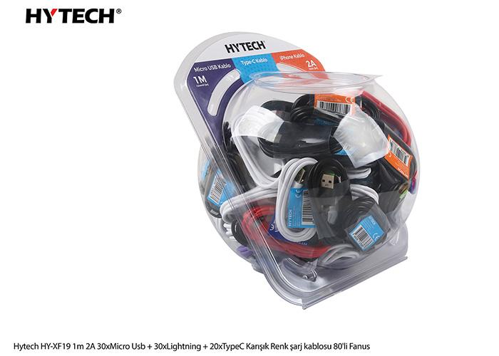 Hytech HY-XF19 1m 2A 30xMicro Usb + 30xLightning + 20xTypeC Karışık Renk şarj kablosu 80li Fanus