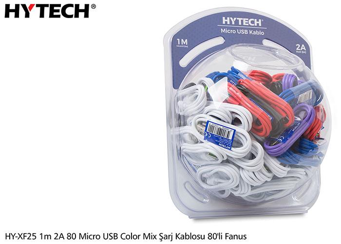 Hytech HY-XF25 1m 2A 80 Micro USB color mix şarj kablosu 80li Fanus