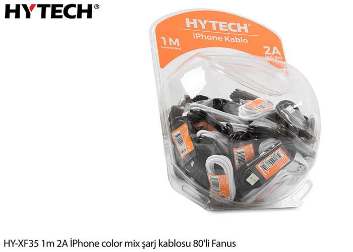 Hytech HY-XF35 1m 2A iPhone Lightning color mix şarj kablosu 80li Fanus