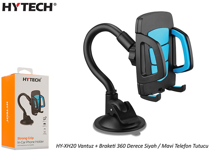 HYTECH HY-XH20 Suction Cup + Bracket 360 Degree Black / Blue Phone Holder