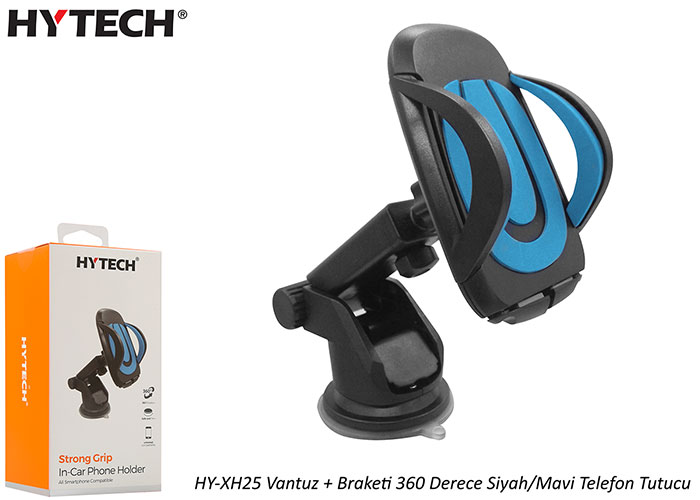 HYTECH HY-XH25 Suction Cup + Bracket 360 Degree Black / Blue Phone Holder