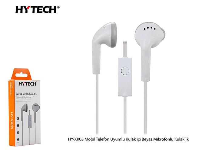 Hytech HY-XK03 Mobil Telefon Uyumlu Kulak içi Beyaz Mikrofonlu Kulaklık