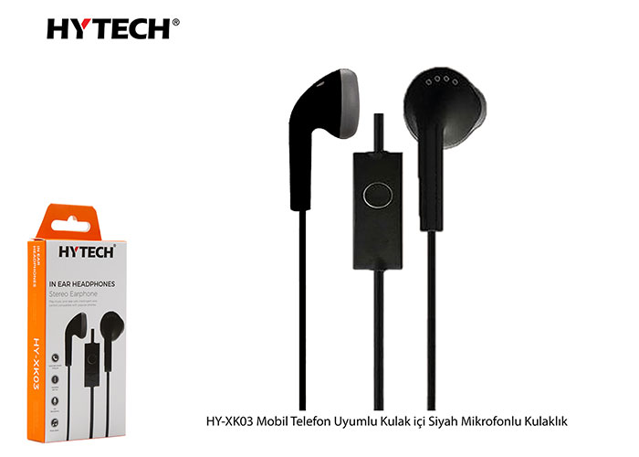 Hytech HY-XK03 Mobil Telefon Uyumlu Kulak içi Siyah Mikrofonlu Kulaklık