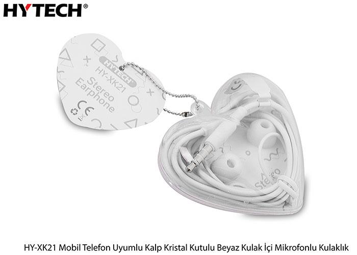 Hytech HY-XK21 Mobil Telefon Uyumlu Kalp Kristal Kutulu Beyaz Kulak İçi Mikrofonlu Kulaklık