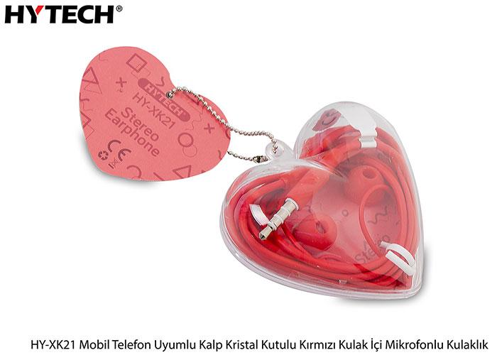 Hytech HY-XK21 Mobil Telefon Uyumlu Kalp Kristal Kutulu Kırmızı Kulak İçi Mikrofonlu Kulaklık