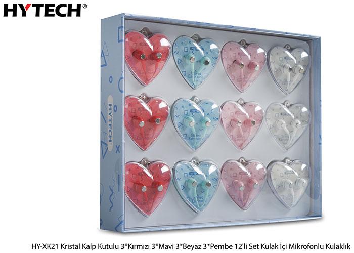 Hytech HY-XK21 Mobil Telefon Uyumlu Kalp Kristal Kutulu Renkli Kulak İçi Mikrofonlu Kulaklık