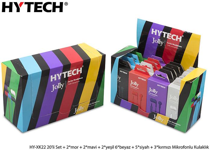 Hytech HY-XK22 20li Set + 2*mor + 2*mavi + 2*yeşil 6*beyaz + 5*siyah + 3*kırmızı Mikrofonlu Kulaklık