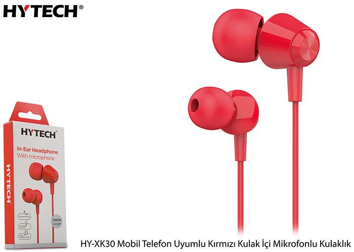Hytech HY-XK30 Mobil Telefon Uyumlu Kırmızı Kulak İçi Mikrofonlu Kulaklık