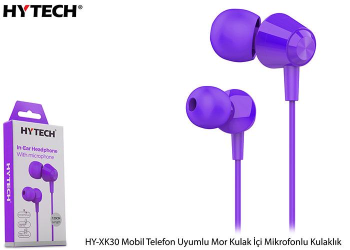 Hytech HY-XK30 Mobil Telefon Uyumlu Mor Kulak İçi Mikrofonlu Kulaklık