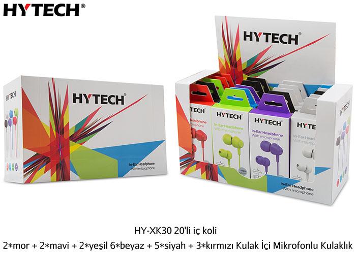 Hytech HY-XK30 20li iç koli + 2*mor + 2*mavi + 2*yeşil 6*beyaz + 5*siyah + 3*kırmızı Kulak İçi Mikrofonlu Kulaklık
