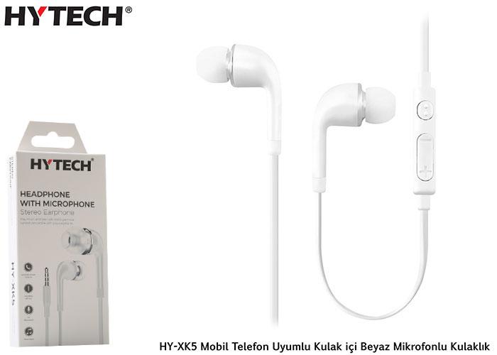 Hytech HY-XK5 Mobil Telefon Uyumlu Kulak içi Beyaz Mikrofonlu Kulaklık