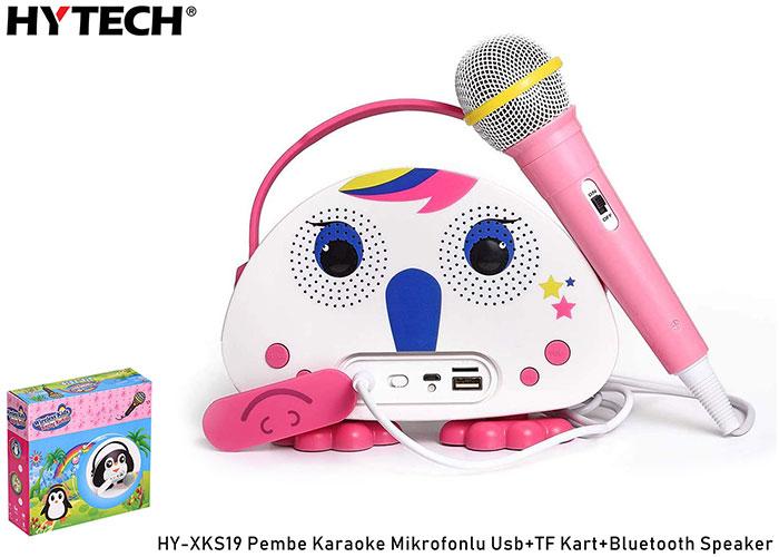 HYTECH HY-XKS19 Pembe Karaoke Mikrofonlu Usb+TF Kart+Bluetooth Speaker