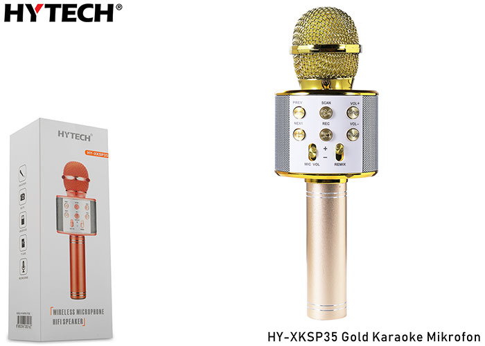 HYTECH HY-XKSP35 Gold Karaoke Mikrofon