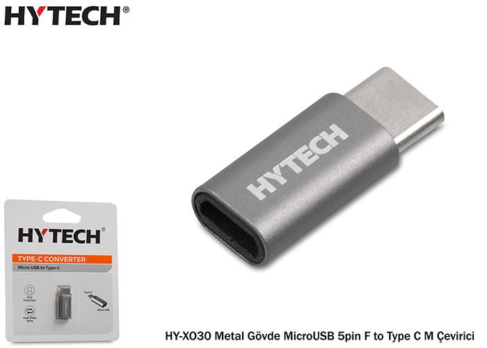 Hytech HY-XO30 Gümüş Metal Gövde MicroUSB 5pin F to Type C M Çevirici