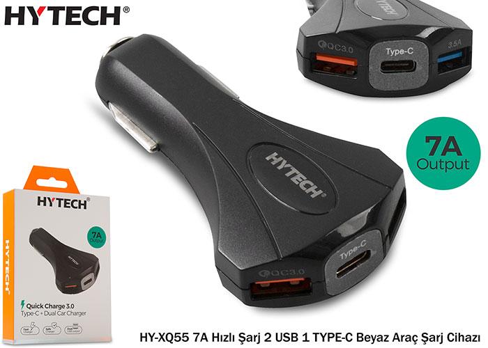 Hytech HY-XQ55 7A Hızlı Şarj 2 USB 1 TYPE-C Siyah Araç Şarj Cihazı