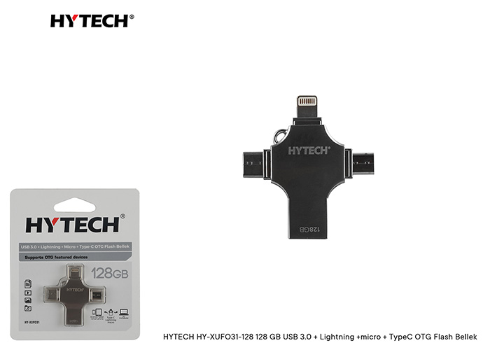HYTECH HY-XUFO31-128 128 GB USB 3.0 + Lightning +micro + TypeC OTG Flash Bellek