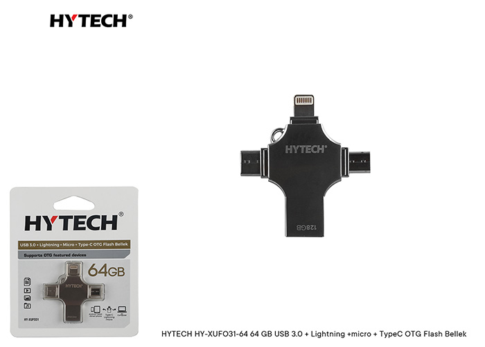 HYTECH HY-XUFO31-64 64 GB USB 3.0 + Lightning +micro + TypeC OTG Flash Bellek