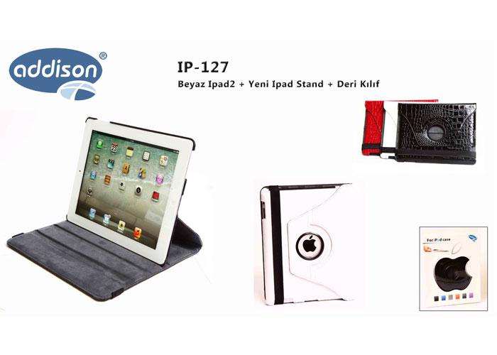 Addison IP-127 Beyaz Ipad2 + Yeni Ipad Stand + Deri Kılıf