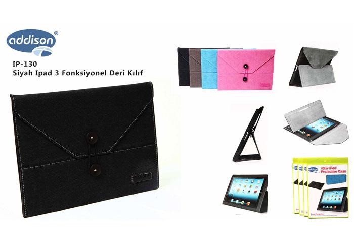 Addison IP-130 Siyah Ipad 3 Fonksiyonel Deri Kılıf
