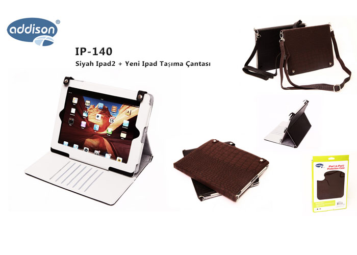 Addison IP-140 Siyah Ipad2 + Yeni Ipad Taşıma Çantası
