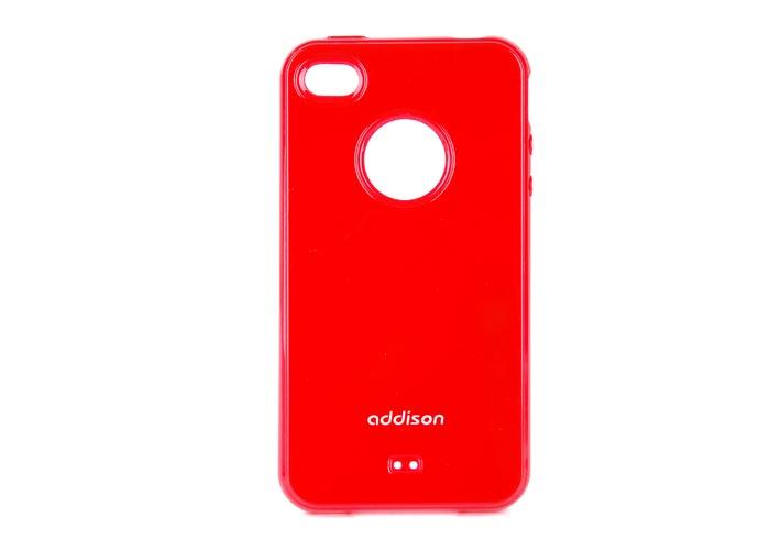 Addison IP-406 Kırmızı Iphone 4, 4S Kılıfı + Şeffaf Ekran Koruyucu